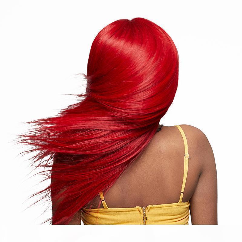 Rote Spitze-Front-Menschenhaar-Perücke für schwarze Frauen lange Gerade Virgin Peruvian Two Tone Ombre Red volle Spitze-Perücken mit Baby Haare