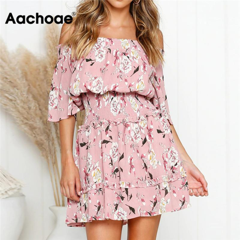 Aachoae Summer Dress 2020 Women Boho Style Floral Print Beach Dress Sexy Off Shoulder Elegant Mini Party Dress Sundress VestidosA1110