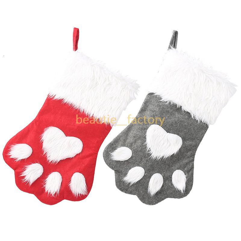 Socks Christmas Stocking Candy Gift Bag Cute Dog Paw Shape Xmas Tree Hanging Decoration Red or Grey