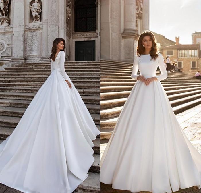 Elegante Satin Ballkleid Brautkleider 2021 Elegante Elfenbein Lange Ärmel Perlen Spitze Appliqued Boho Brautkleider Individuell gemacht