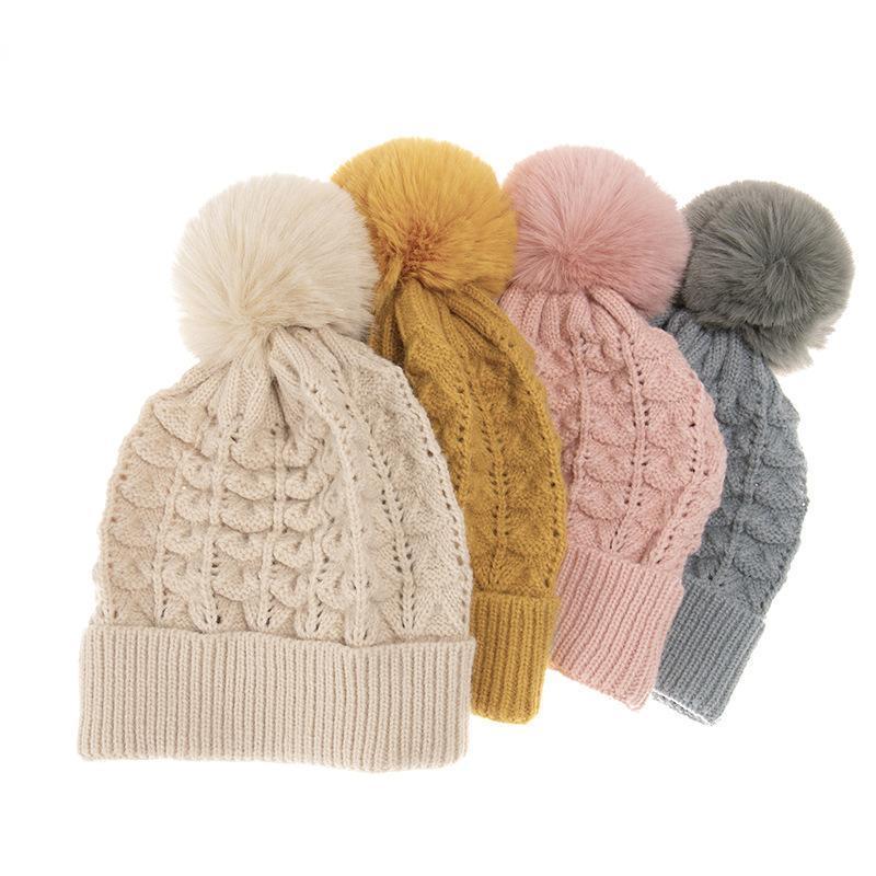 Простая девушка вязаная мягкая фаната шапки для женщин элегантный мех помпом зимняя теплая шерстяная шапка женский сплошной цвет модный череп шляпа