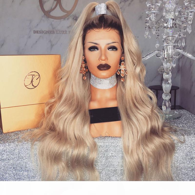 Yüksek at kuyruğu Dalgalı Işık Blonde İpek Üst Dantel Açık Peruk 180Density Uzun 13x6 Derin Bölüm Şeffaf Dantel Ön İnsan Saç Peruk