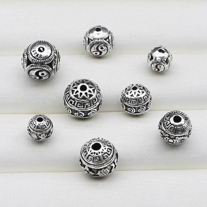Yinshi S925 pure silver Thai silver handmade accessories 10 mm round beads six character truth Bracelet beads material loose beads