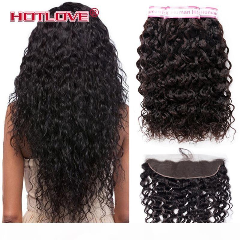 Malese Water Wave bundle con Pizzo Frontale Chiusura 13 * 4 pollici Virgin malese dei capelli dell'onda di acqua dei capelli umani 3 fasci di capelli con frontale
