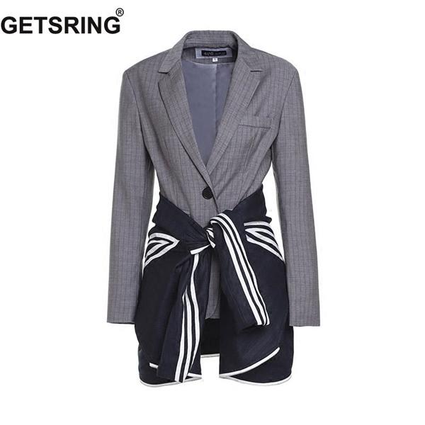 GETSRING mujeres de la chaqueta de rayas Bangage Falso capa del juego 2 chaquetas de manga larga Recta Todos Mujer Partido Tops Otoño Nueva C1008