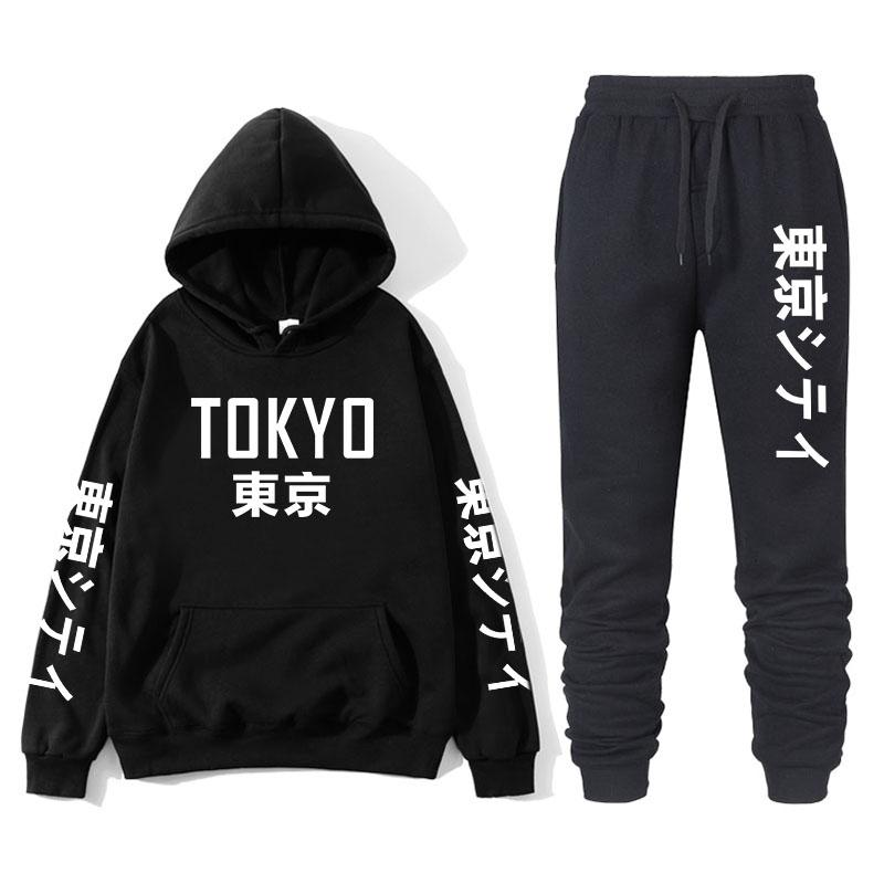 Men Sportswear Sets Printing Tokyo Japanese Words Running Sports Fitness Tracksuit Two Pieces Sweatshirt+Sweatpant Gym Clothing