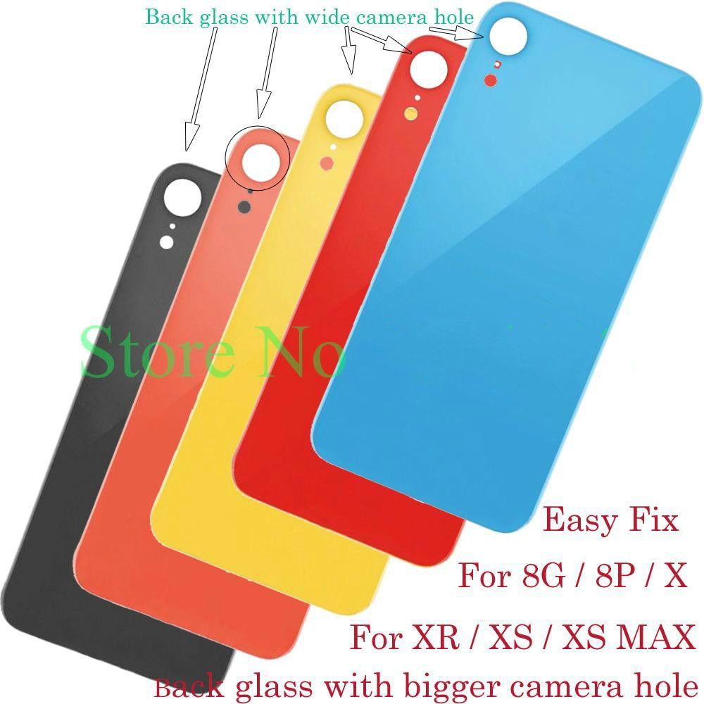Большое отверстие крышки батареи задней двери Шасси Назад Крышка корпуса из стекла Замена для iphone 8 8G Plus X XR XS XS MAX телефон ремонт LCD отреставрировать