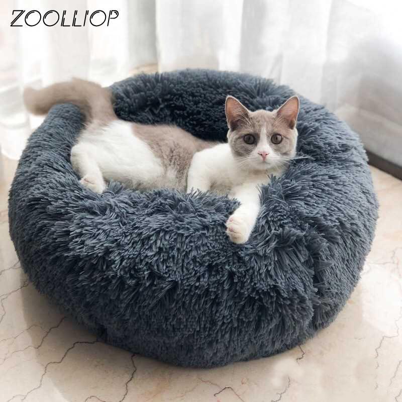 Casa de cama de gato de pelúcia rodada casa suave luxuosa pet cão de estimação para cães produtos ninho inverno aquecido dormindo gato animal de estimação esteira Cat casa 210224
