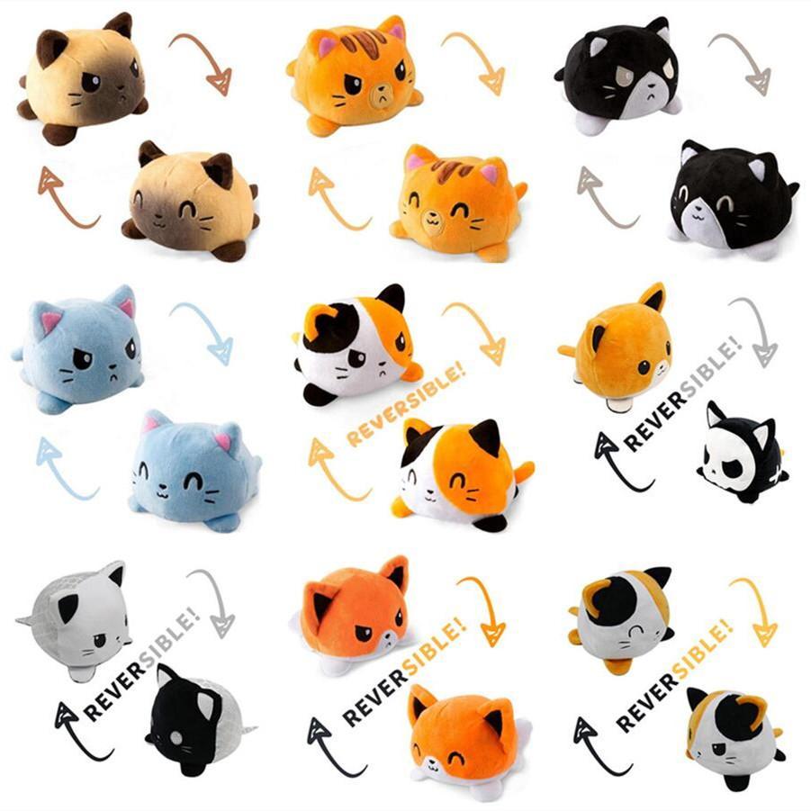 Реверсивный кот Gato дети мягкий подарок плюшевые плюшевые плюшевые животные двухсторонние флип куклы милые игрушки для Pulos