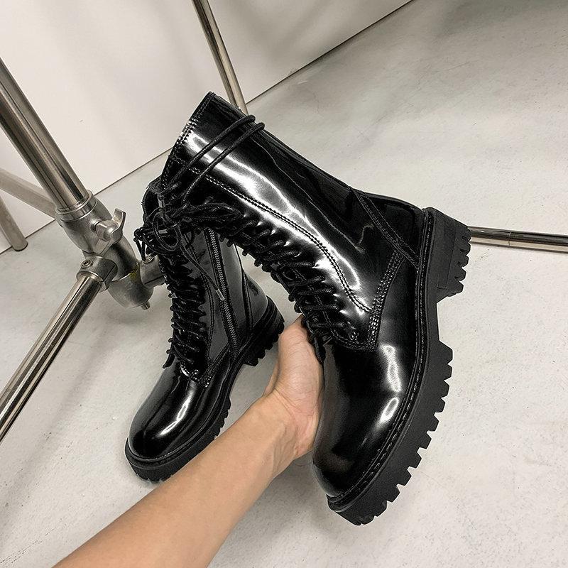 2020 ретро лакированная кожа женщин Ботильоны Короткие сапоги Party Night Club Motorcycle Женская обувь женщина размер 41 42 43