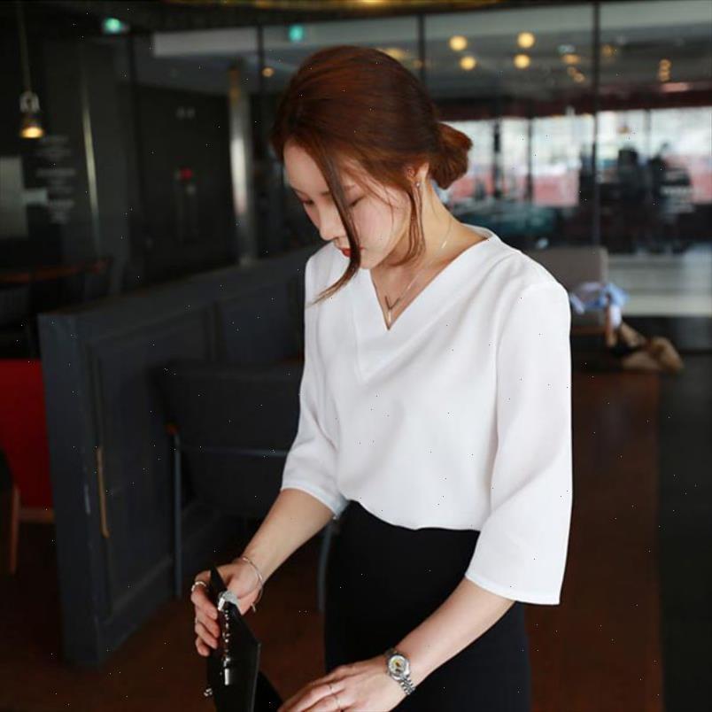 Blusa mulheres branco sexy tops verão v neck chiffon mulheres escritório camisas senhoras top trabalho camisas roupas coreanas branca cinza rosa