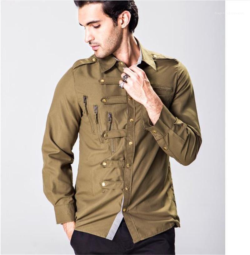 ملابس 21FW سترة رجل عارضة القمصان lepal الرقبة مع زر طويلة الأكمام soild اللون رجل مصمم