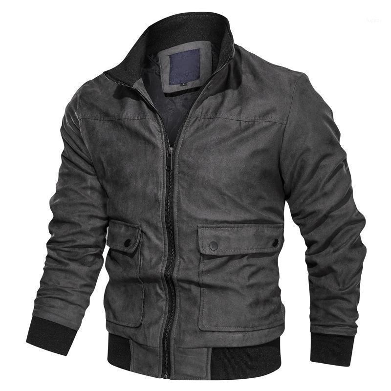 New Chaqueta Hombres Soporte Cuello Multi-Pestidor Suede Chaqueta Slim Fit Hombres Bomber Casual Motorcycle Coat 1