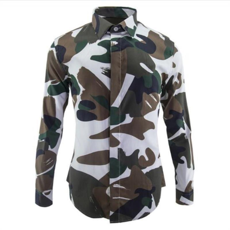 New Spring Brand Brand Abbigliamento Camicie Dimensioni Stampato Military Camouflage Big Camicia uomo Mens Fit Casual Slim Designer Rmeren