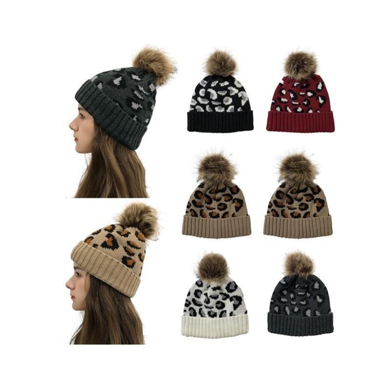 Moda Qualityhat ılık kadın kıl yumağı örgü şapka renkli leopar baskı sonbahar kış tutmak 2020