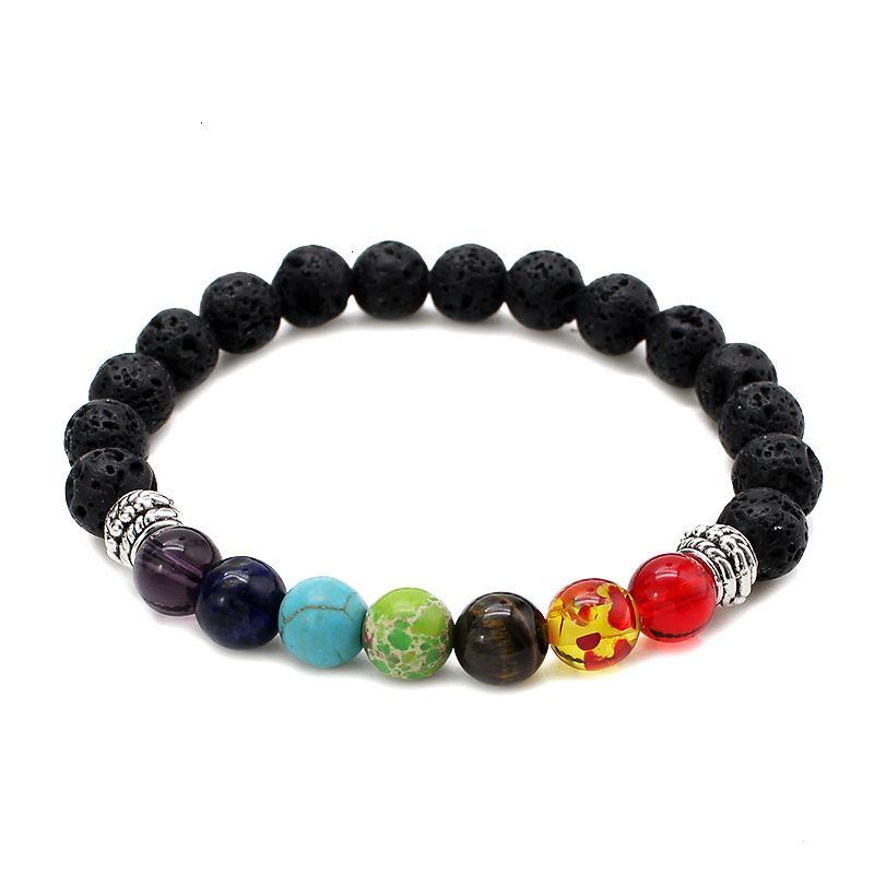 Фабрика цена лавы новых мужчин 7 чакра браслеты черные заживления булочки бусины браслет для женщин Reiki молитвенный натуральный камень