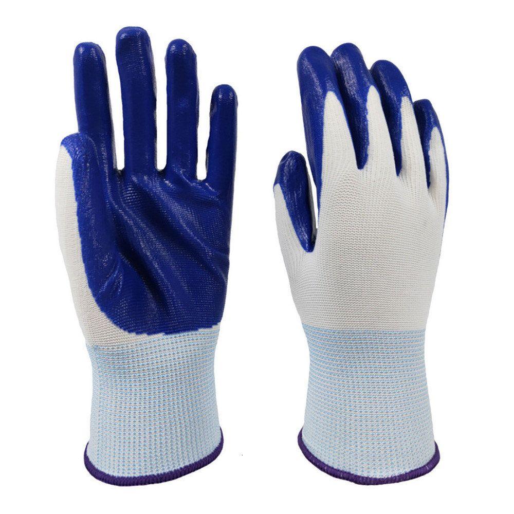 Blue 12 pares protegem luvas brancas nylon revestido de nitrilo de segurança luvas de trabalho wearproof antiskid 13 calibre de malha