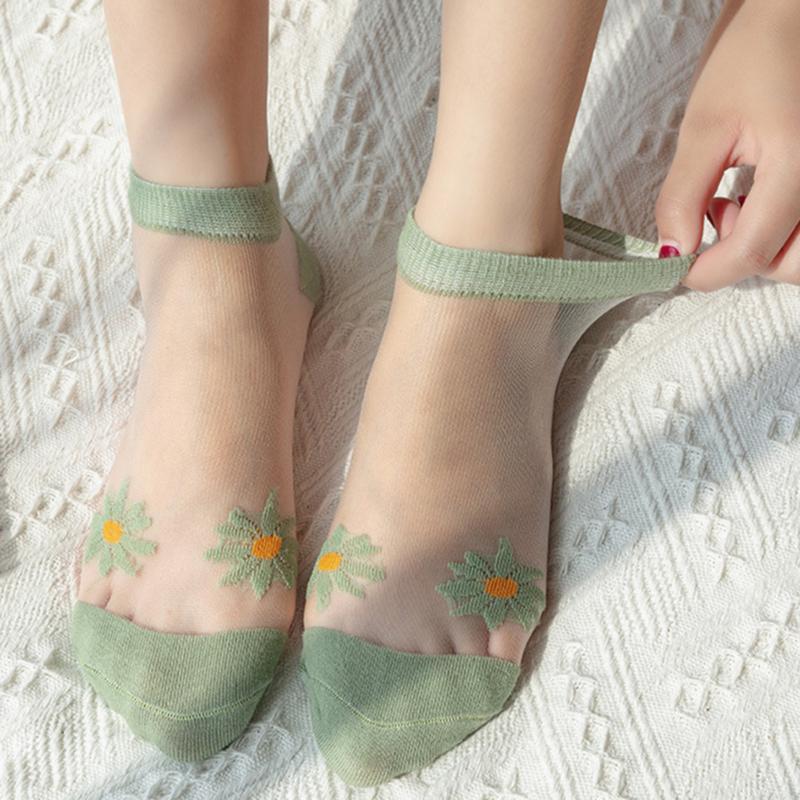 Socken Strumpfwaren Sommerkristall Transparente Frauen 5 Paare / Pack Hochwertige dünne Dame