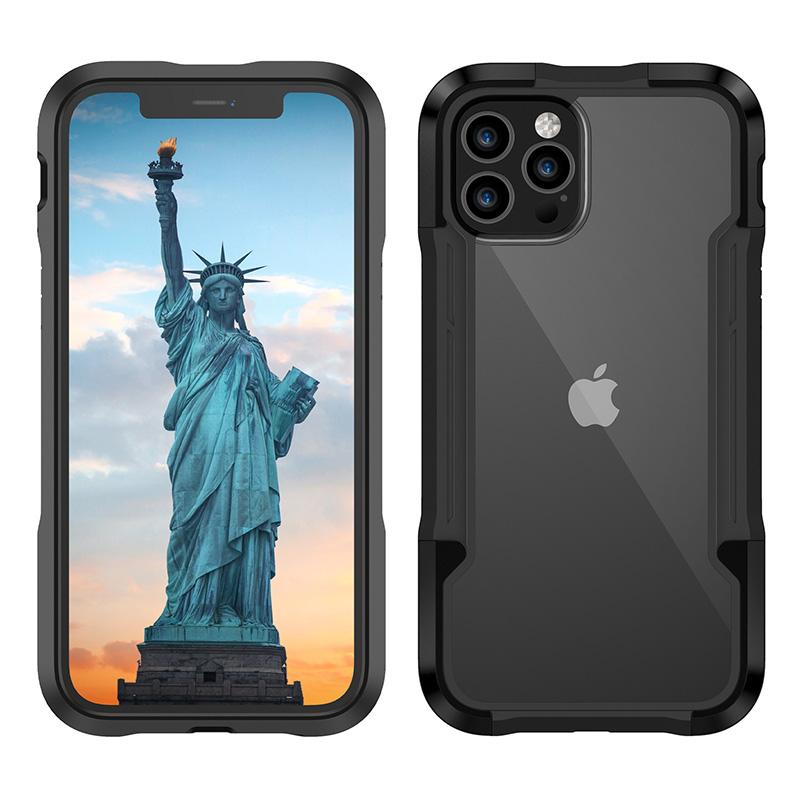 Funda de armadura acrílica transparente para iPhone 12mini 12 11 Pro Max TPU PC Funda de teléfono celular anti-caída para iPhone XS MAX 7 8PLUS