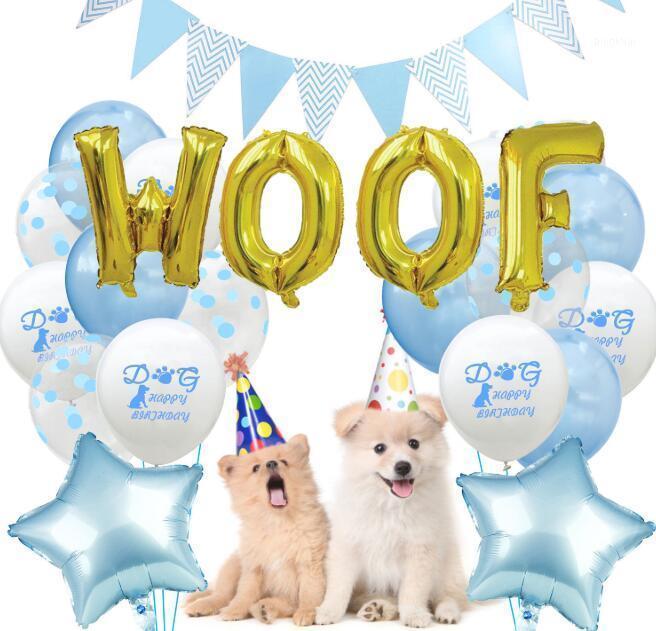 Feliz cumpleaños Set de globo de látex para PET cachorro perro fiesta de cumpleaños decoración guirnalda bandera letra WOOF1