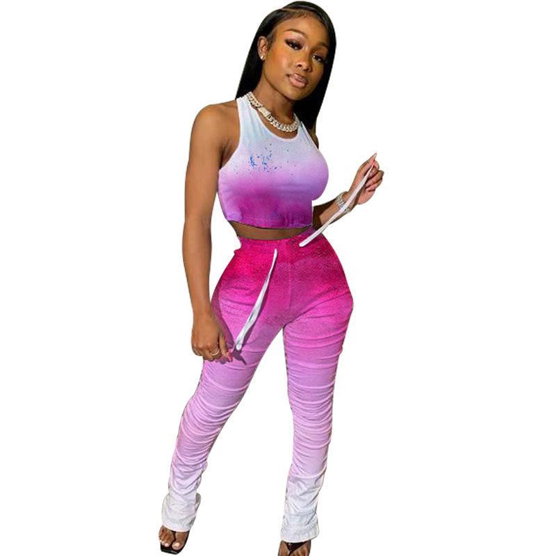 Explosive Hip-sollevamento del vestito Pieghe Slim Moda Sport europei e americani Plus Size due pezzi di abbigliamento femminile