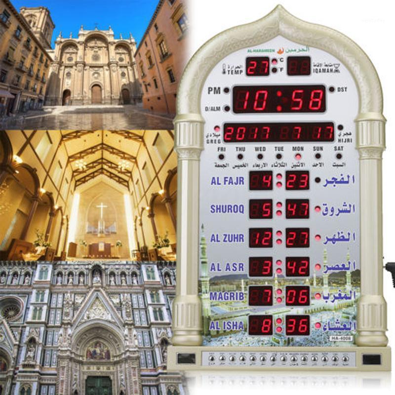 Mezquita islámica Azan Calendar Muslim Oración Reloj de pared Alarma Ramadán Decoración para el hogar Color Random1