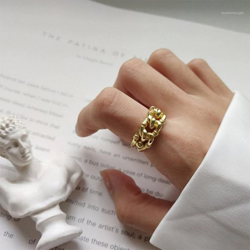 Retro Personality Metal Adjust Ring Europe Gold Silver Color Hollow Twist Chain Open Ring Female Geometric Women Jewelry Gifts1