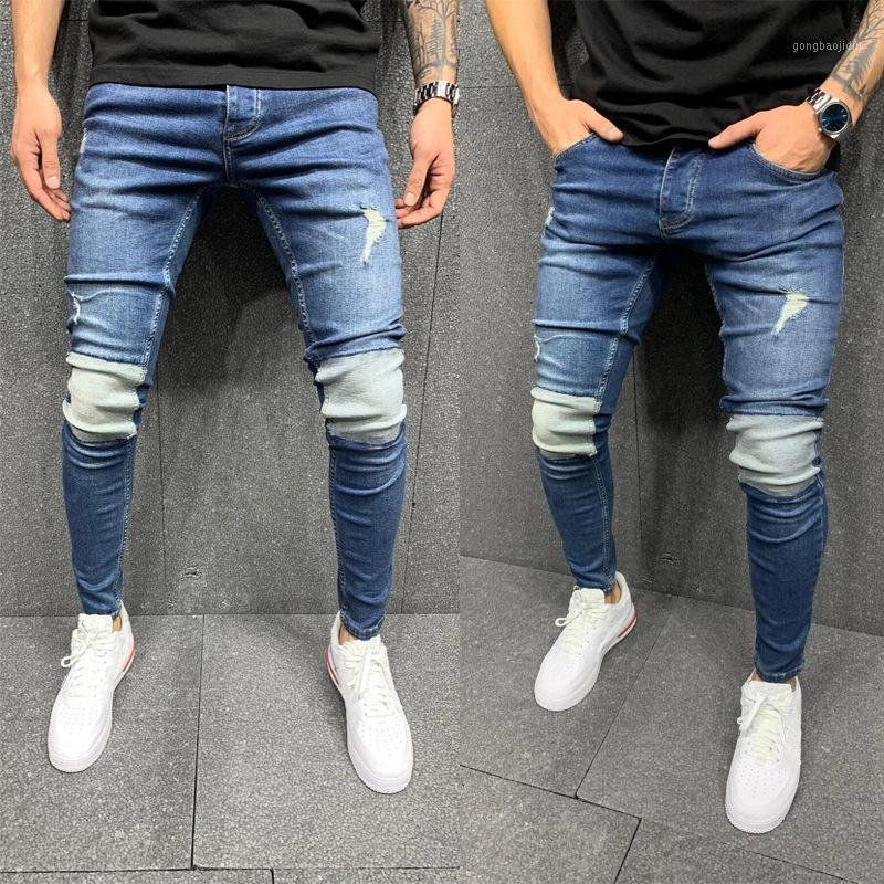 Новые разорванные лоскутные джинсы для мужчин Slim Fit Skinsian Skinny Brank Bard Man Denim Jogging плиссированные брюки Homme Pantalon Vaquero Hombre1