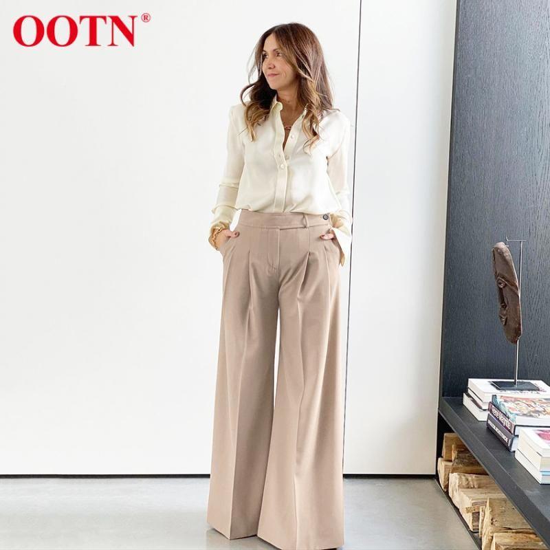 Frauenhose Capris OOTN Beige Lose Wide Bein Büro Lady Anzug Mode 2021 Frühling Casual Damen Hosen Elegante Palazzo