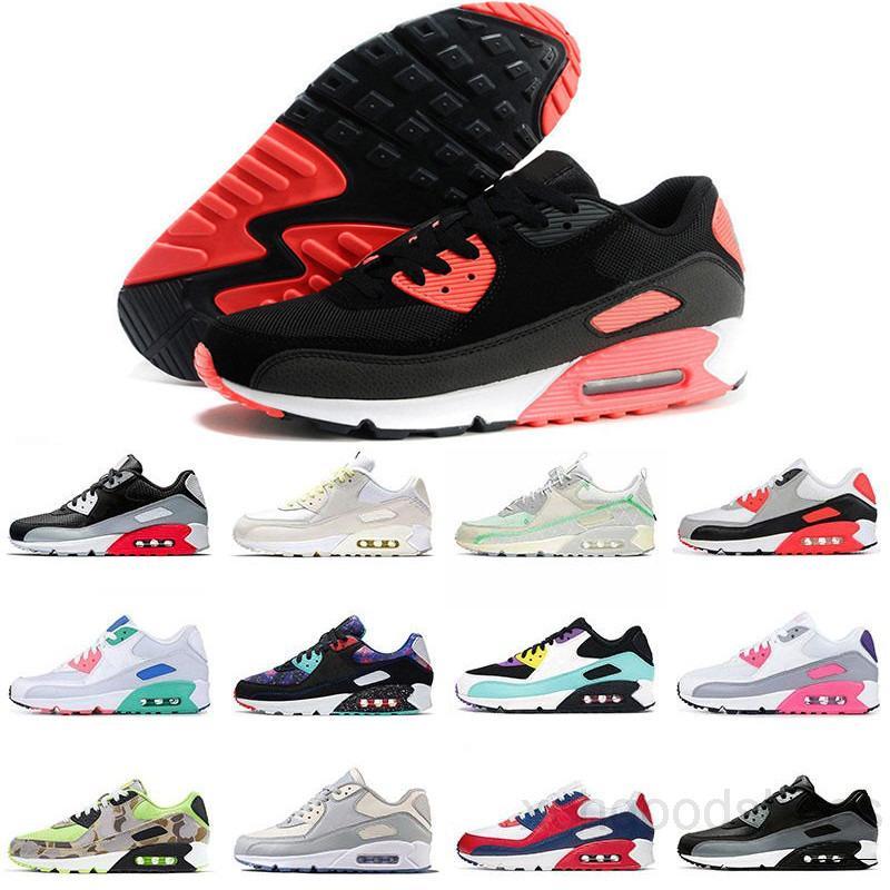2021 Yüksek Kalite Hava Yastığı 90 Rahat Ayakkabılar Ucuz Erkek Bayan Siyah Beyaz Air90 Klasik Hava Tasarımcıları Trainer Koşu Spor Ayakkabı NDE3V