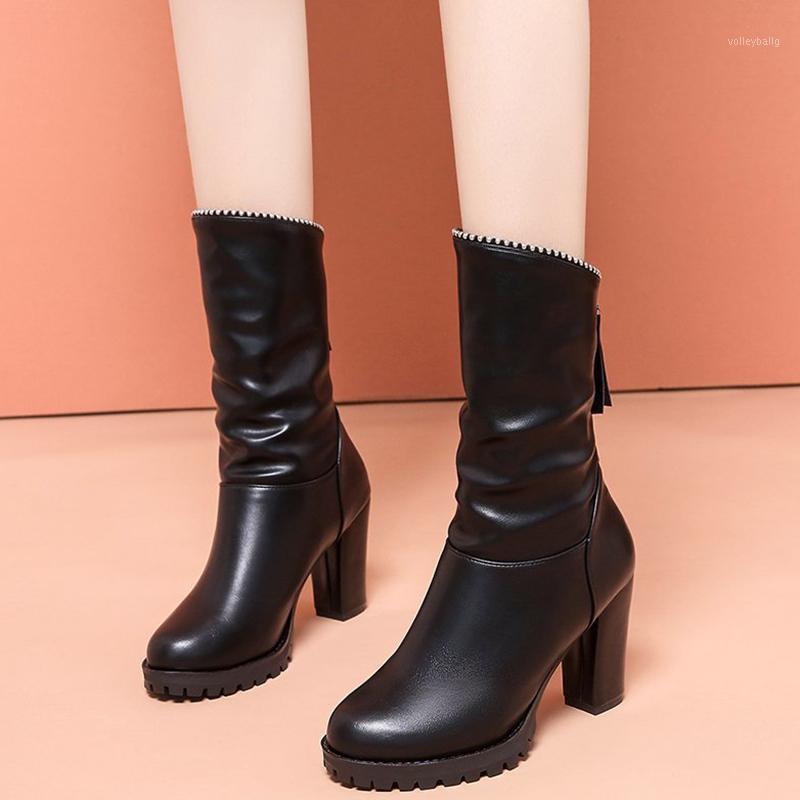 LUCYEVER DONNE DONNA PIATTAFORMA DI CRISTALLO BASTALLA MID STIVALI DI CALFO Ladies PU Leather Thick Tacchi alti Scarpe Fashion Pleated Office Footwear1