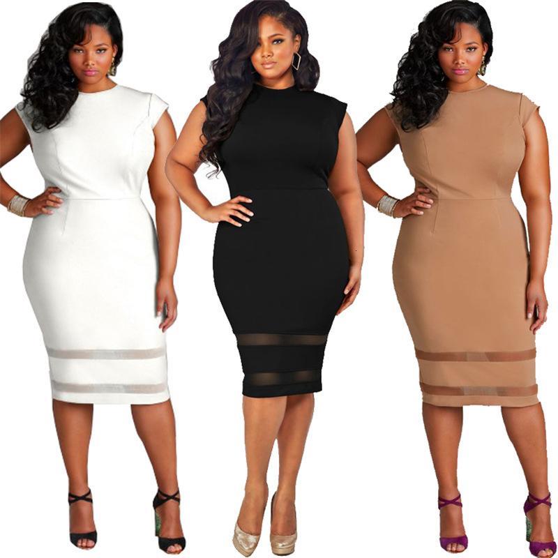 XL-5XL grande de Big Spring 2020 Elegancia de encaje sin mangas vestido de los vestidos más el tamaño de Ropa Vestidos