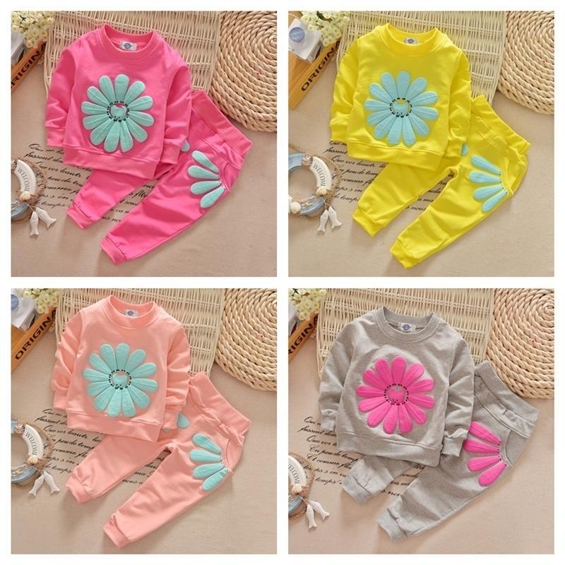 90-120cm Crianças Roupa Daisy 2021 Meninas Primavera Girassol Hoodie T Camiseta e Calças Dois Pedaço Tracksuit Designers Sportswear Casual Terno G12804