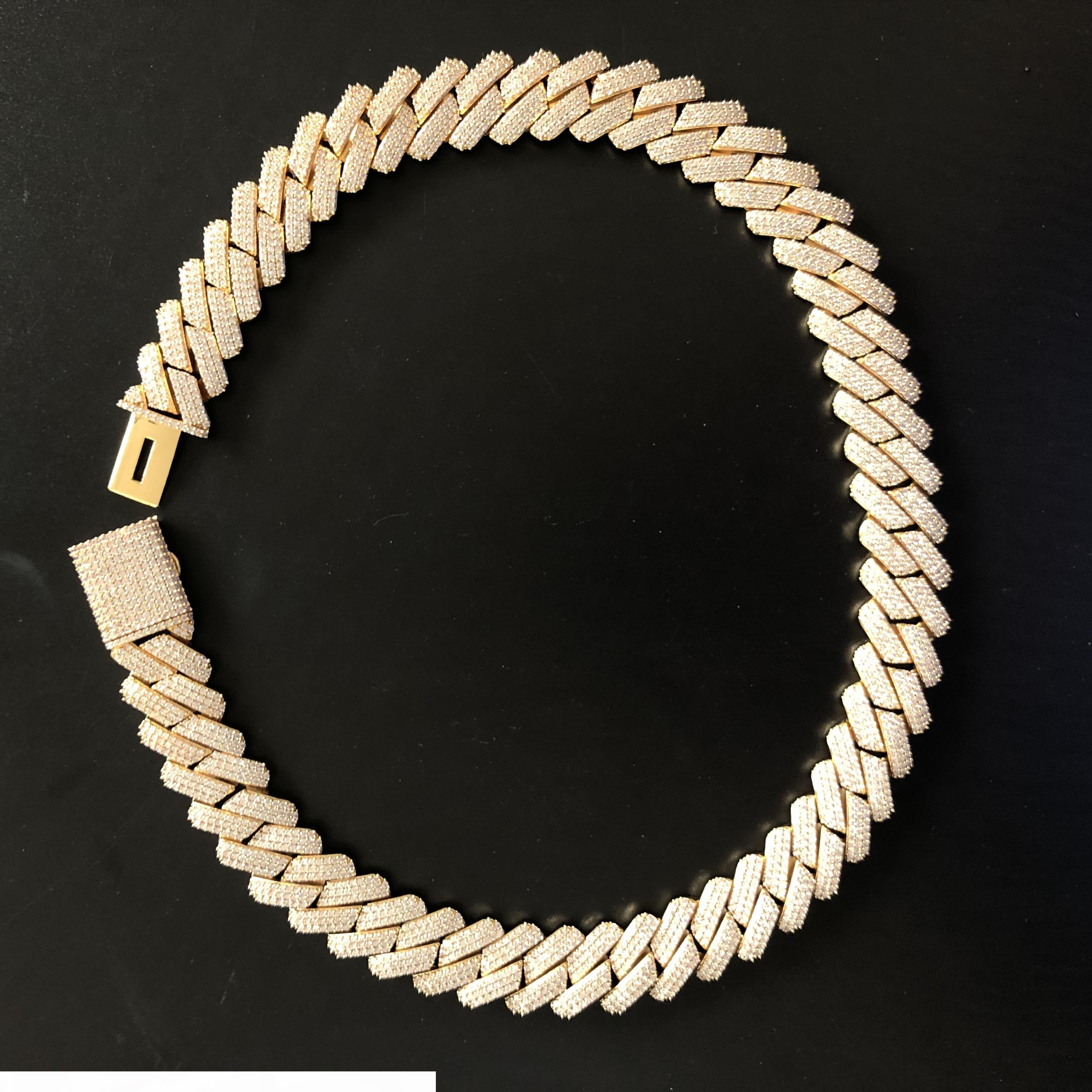 Chains 19 milímetros completa Iced Out pesado cubano colar Prong Definir Colar