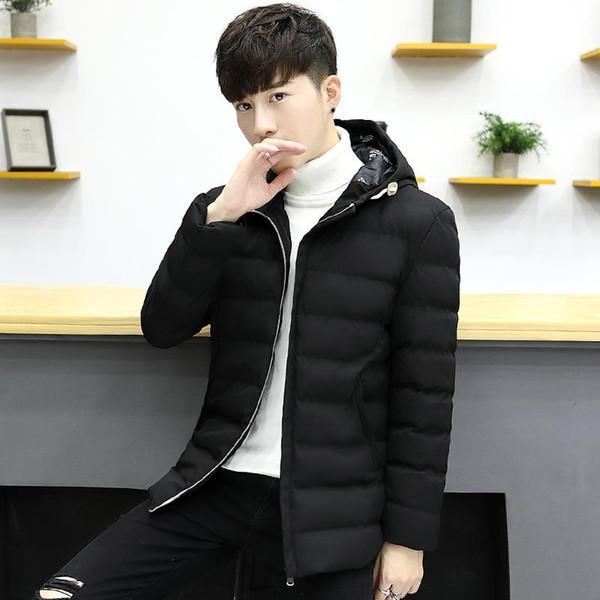 Gelgit Casual Kapşonlu Parka Sonbahar Kış Erkek Ceket Moda Dış Giyim Pamuk Slim Fit Coat Erkek Kalın Parka Fermuar Ceket Mens Isınma
