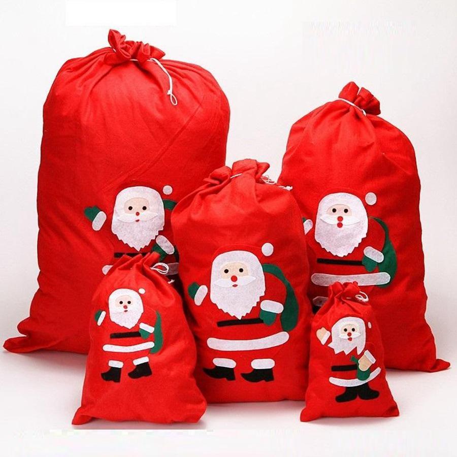 Hot Noël Fournitures de Noël Sac cadeau à cordonnet rouge de Noël Jouet Arbre Stocking Bonhomme de neige flocon de neige Bonbons Porte-cadeaux DDA617