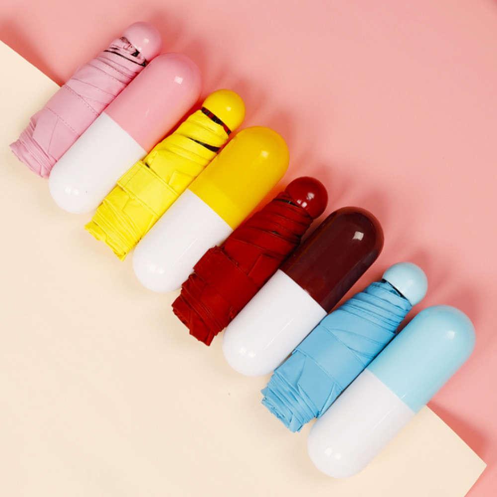 Mini capsule pliante petite avec comprimé package boîte de poche parasol pluie anti-UV Portable voyage parapluie soleil pluvieux jour