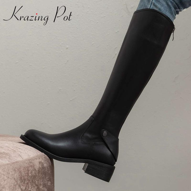 Krazing Pot Cuero genuino Redondo Toe Med Heel Shoes de invierno Simple Estilo Belleza Lady Streetwear Botas de alta calidad High-High L101