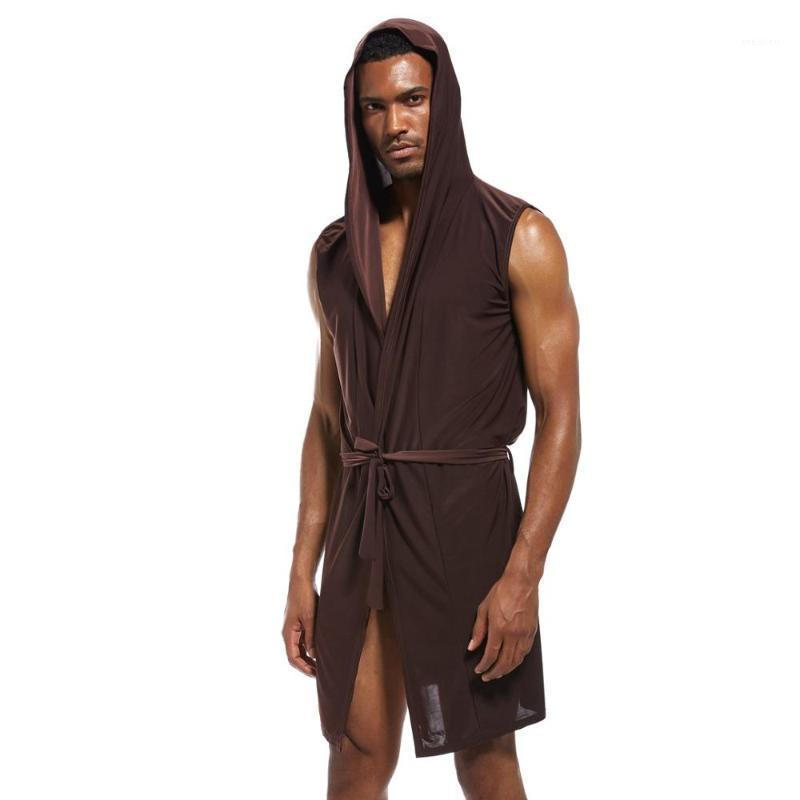 Men's Sleepwear Summer Men Casual Bathrobe Long Robe Soft Nightgown Sleeveless Hooded Bathing Male Plus Size Nightwear Pajamas1