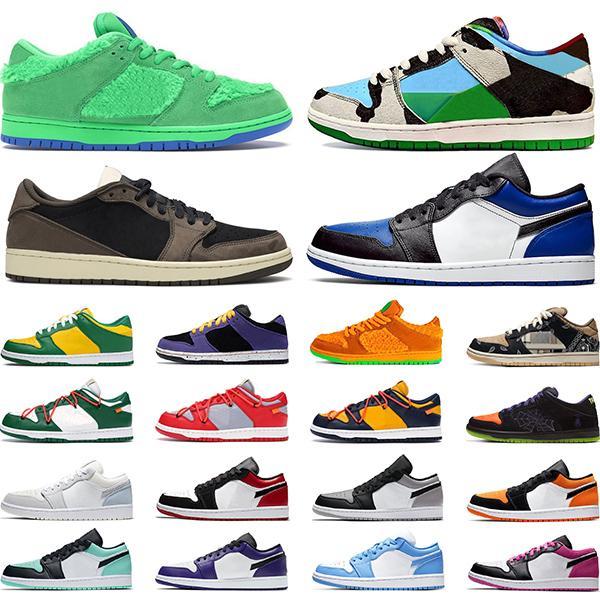 sb dunk low Chaussures de planche à roulettes Chunky Dunky Bears Vert Sashiko 1s Low Shattered Backboard Chaussure De Basket-ball Hommes Femmes Baskets