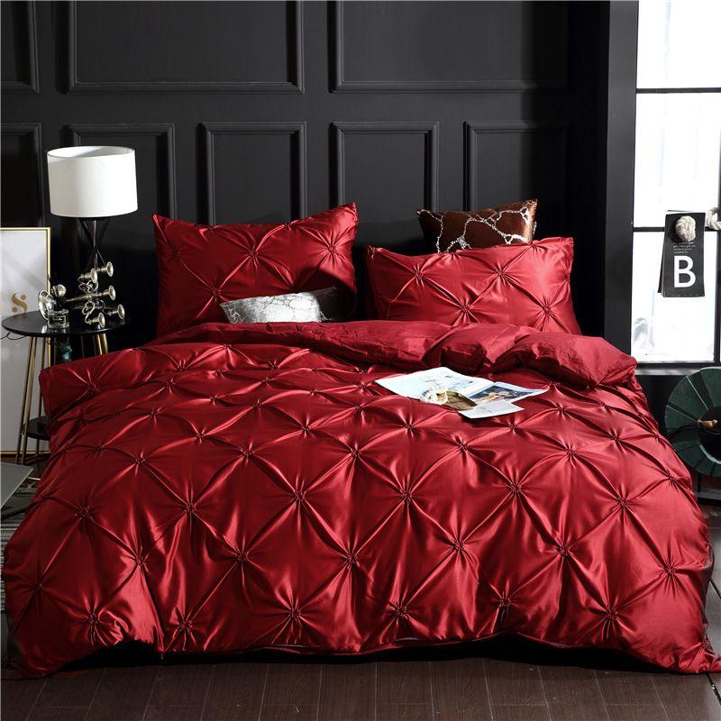 Denisroom постельное белье набор роскошных одеятельных покрытий комплекты кроватей кровать набор красный король двуспальная кровать одеяла без листа XY58 # T200822