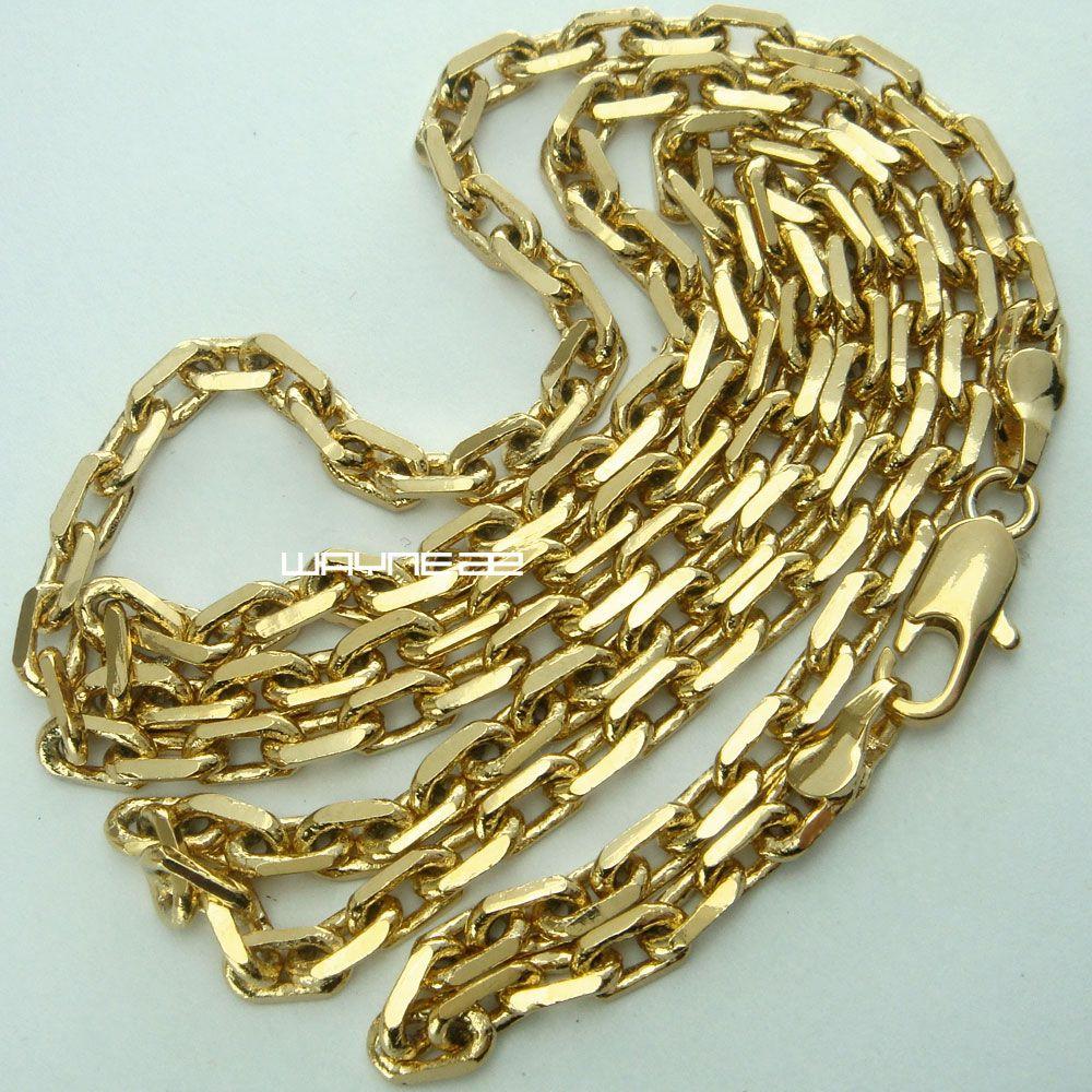 18K 18CT Gold füllte der Männer 3,5 mm Breite 50 60 70cm Länge Kette Halskette N286