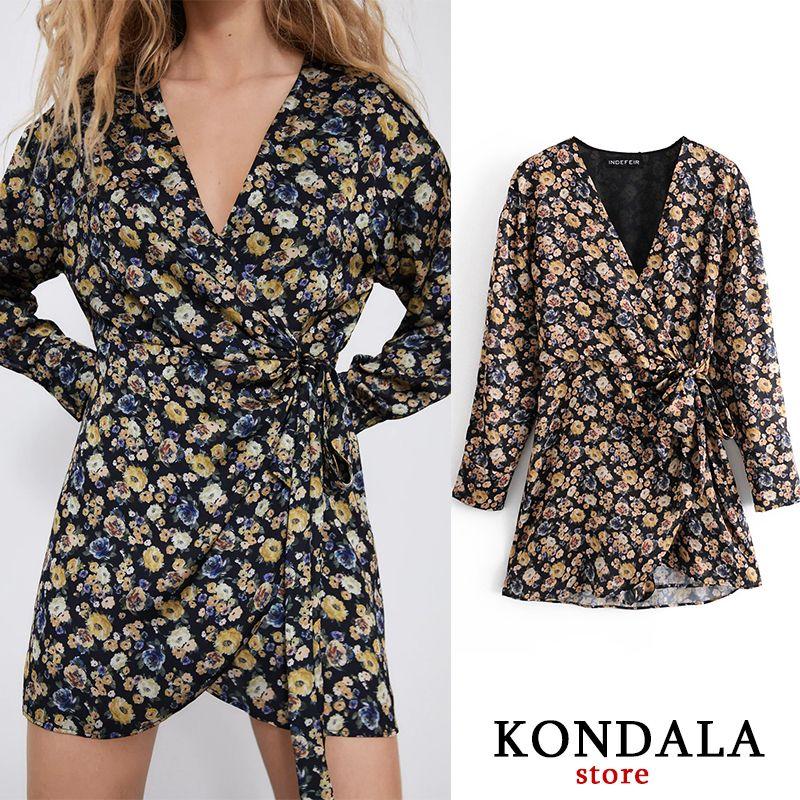 Kondala Za 2021 Fashion Femmes Bpdysuit Sashes florales non définies Mini PlaySuit à manches longues V-Col V Court BodySuit Mujer