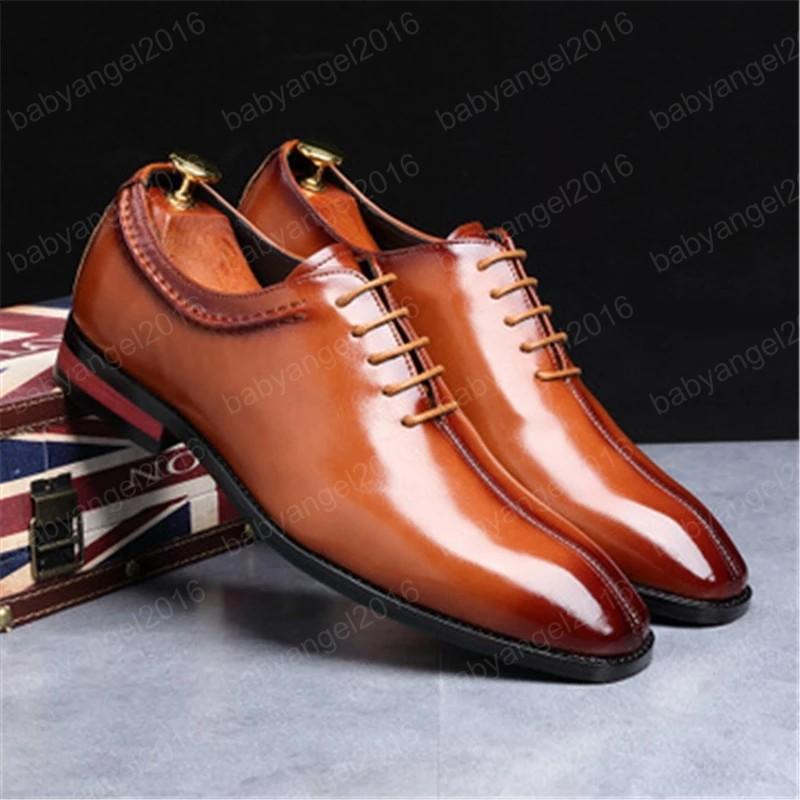 Echtes Leder Business Herren Kleid Schuhe Mode Elegante Formale Hochzeitsschuhe Männliche Lace-up Büro Square Tehe Oxford Schuhe