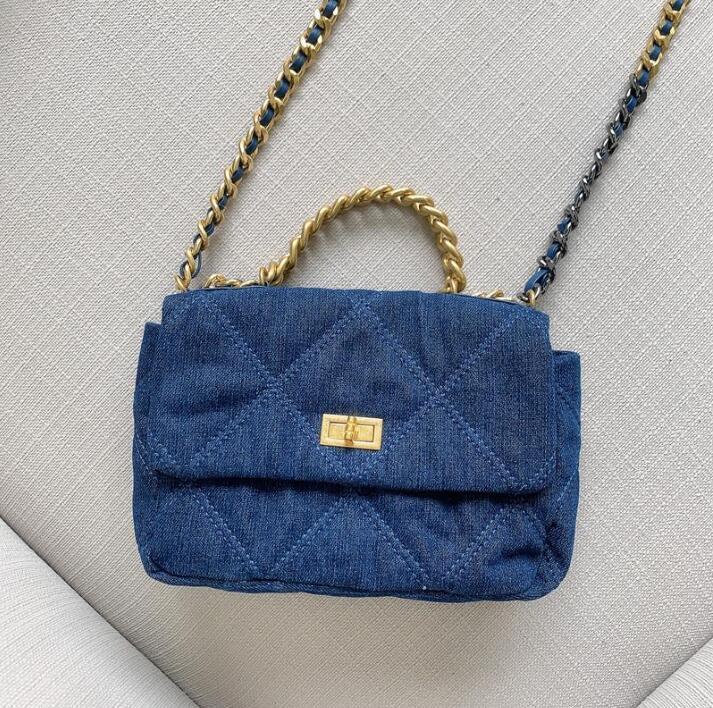 Одно плечо сумка сумки пакет мешок цепи площади мешок холст ковбой сетки