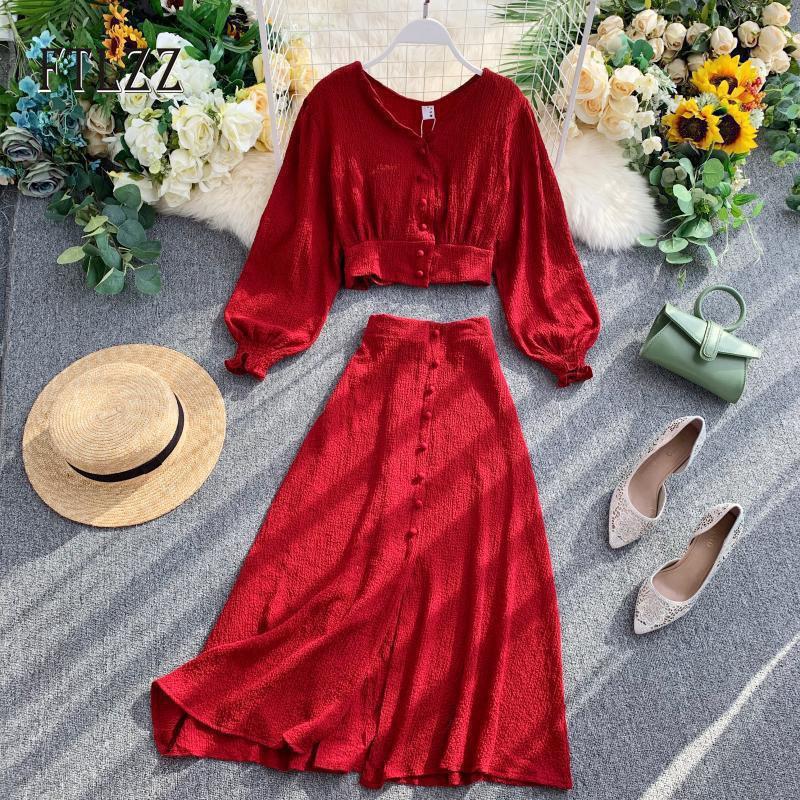 Мода двух частей набор женщин V-образным вырезом Sexy Cross Top Blouse рубашка + тонкий A-Line Skyt Suitts Suits женщина весна осень набор одежды T200819
