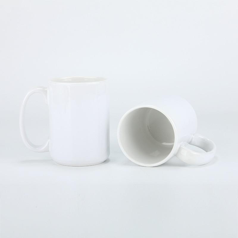 Sublimazione bianca 15oz Ceramica Coppa di ceramica Dritto Straight Blank Transfer Transfer Stampa tazza Home Office fai da te Tazza da caffè in ceramica