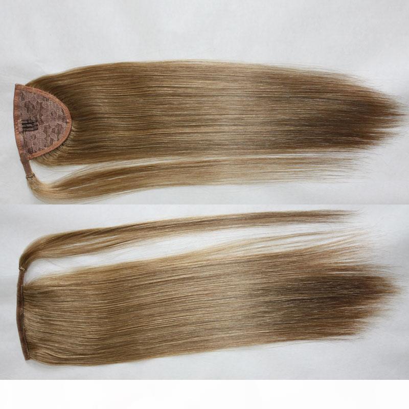 16 '' - 22 '' 100% grampos de cabelo de Remy do brasileiro Humano Velcr Magia Rabo Cavalinha em extensão do cabelo humano Natural Color Stra