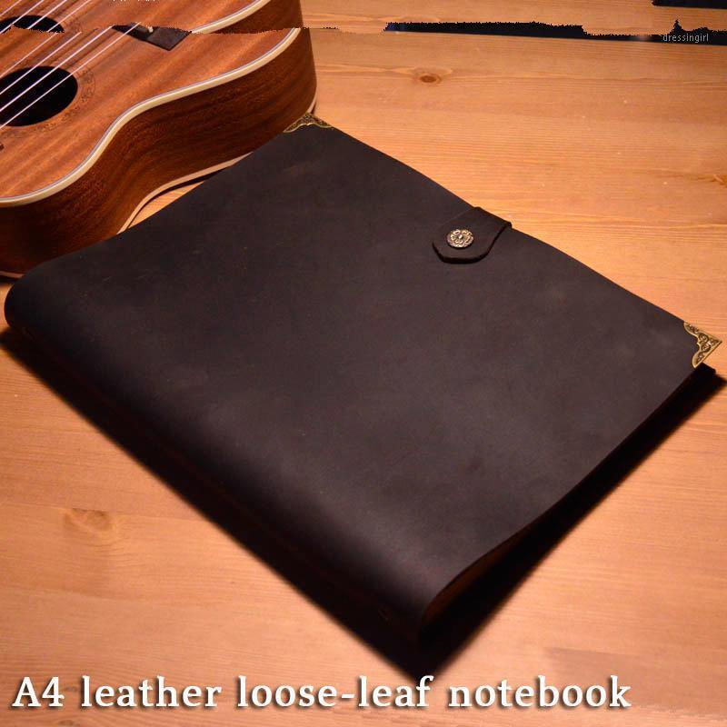 A4 3 furões de couro solto de couro notebook de couro artesanal de couro retro bloco de notas retrô Primeira camada de vaqueira 50 folhas Papeg1