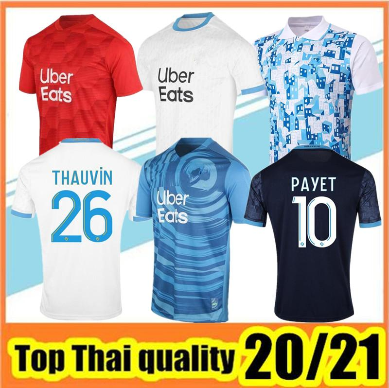 Olympique de Marseille Soccer Jersey 2020 2021 Om Marseille Maillot de Fepe Payet Thauvin Benedetto Polo Tribersys 20 21 Рубашки Марсель